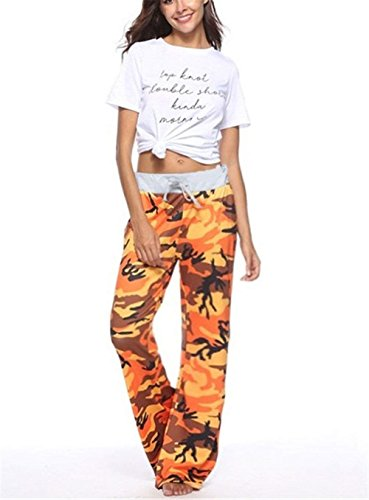 Tuta Pantaloni Militari Elegante Coulisse Donna Pantaloni High Lunga Relaxed Libero Waist Palazzo Tempo Arancia Pantaloni Grazioso Fashion BIRAN Pantaloni x8qvWv