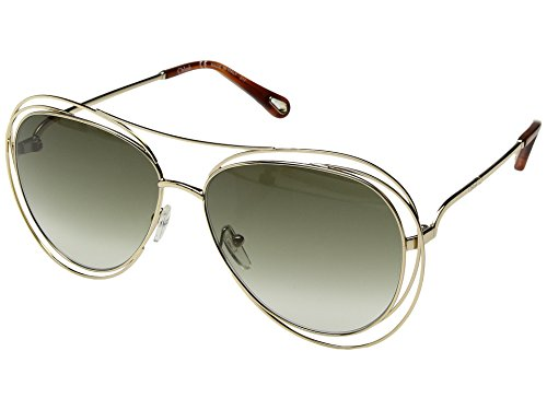Chloe Women's Carlina - CE134SL Gold/Havana/Green Lens One - Aviator Sunglasses Chloe
