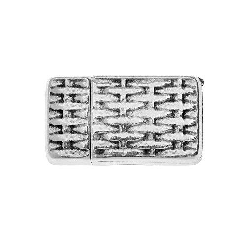 Basketweave Design Bracelet - Beadaholique Magnetic Clasp, Basketweave Design Fits 10mm Flat Cord, 1 Set, Antiqued Silver Plated