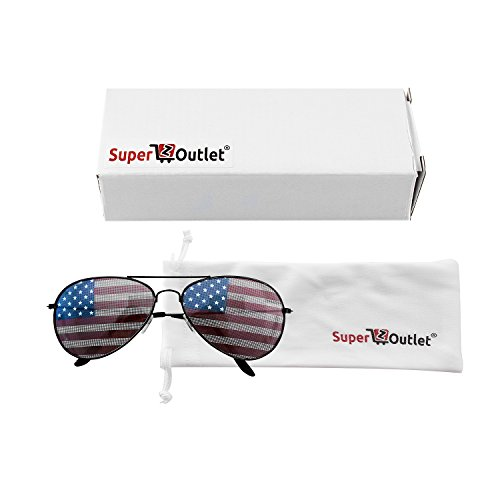 ee3c4d36bc28 Super Z Outlet American USA Flag Design Metal Frame Aviator Unisex  Sunglasses with Print Patterned Lens for Sun Protection