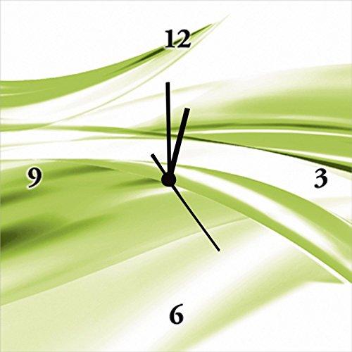Artland Analoge Wand-Funk-oder Quarz-Uhr Digital-Druck Leinwand auf Holz-Rahmen gespannt mit Motiv 2jenn Schöne grüne Welle - Abstrakt Abstrakte Motive Gegenstandslos Digitale Kunst Grün A5ZQ