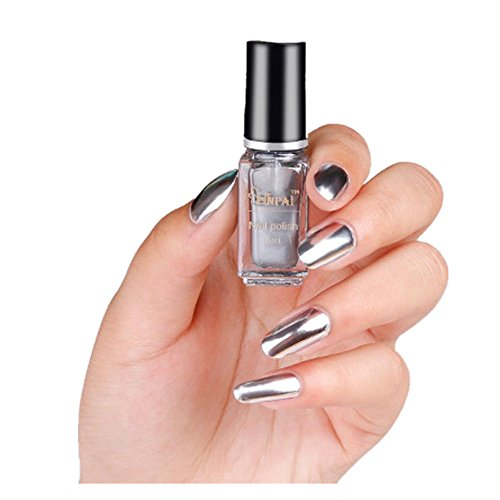 (Oksale® 6ml Mirror Nail Polish Plating Silver Paste Metal Color Stainless Steel (A))