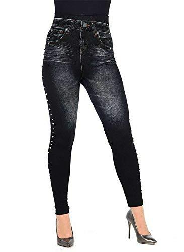 tama de negras de laterales Un Pantalones negro o perlas mujer vaqueros moda para en 21 impresos qWnZHxBA7w