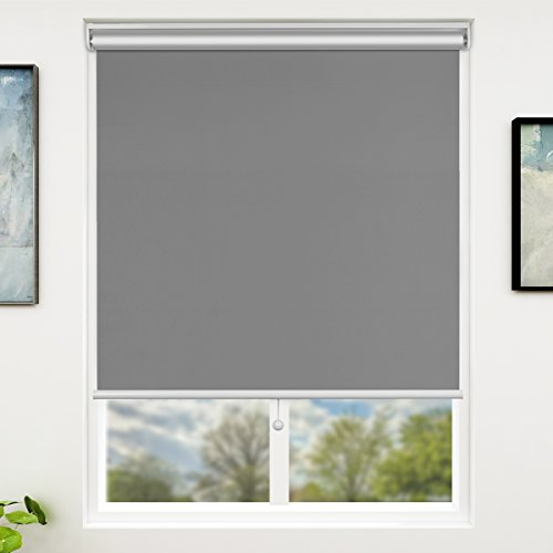 - SUNFREE Blackout Roller Blinds and Shades Cordless Spring System, Room Darkening for Window Indoor Use, 23 inch x 72 inch, Grey