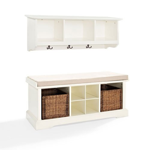 251 First Hayden White Two Piece Entryway Bench and Shelf Set from 251 First