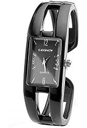 Top Plaza 1pc Black Vintage Enamel Bracelet Watch Bangle Quartz Watch for Women with Rectangle Case 6'' Length