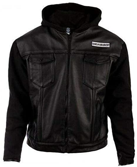 Colore Sons of Anarchy Highway Nero Giacca da Moto in Pelle Sintetica con Cappuccio