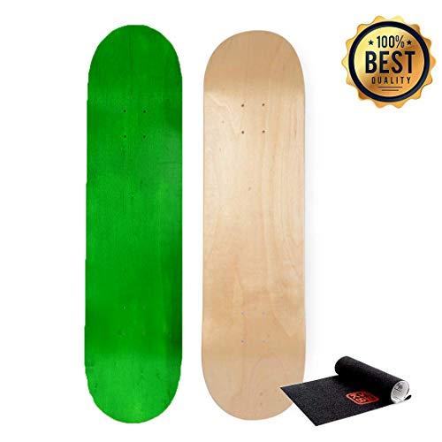 Free Skateboard Deck - LOSENKA Maple Skateboard Decks Double Tail Skateboard Light Decks Free Skateboard Grip Tape (Green)