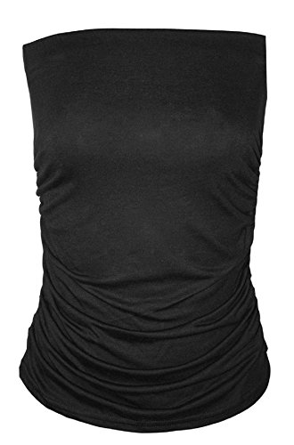 Ladies Strapless Top (Rimi Hanger Womens Sleeveless Plain Ruched Stretch Boobtube Ladies Strapless Bandeau Top Black Large)