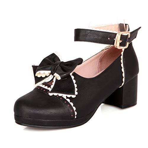 HILIB Woman's Low Heel Vintage Lolita Shoes Cute Bowknot Mary Jane Shoes Black 6 ()