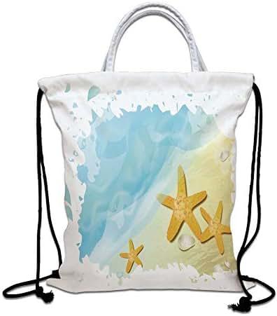 Starfish Decor Drawstring Backpack Bag,Artistic Beach Sand Small Rocks Aquatic Life Animals Exotic Vacation Theme Decorative Lightweight Sports Gym Bag for Women Men Children,Multicolor