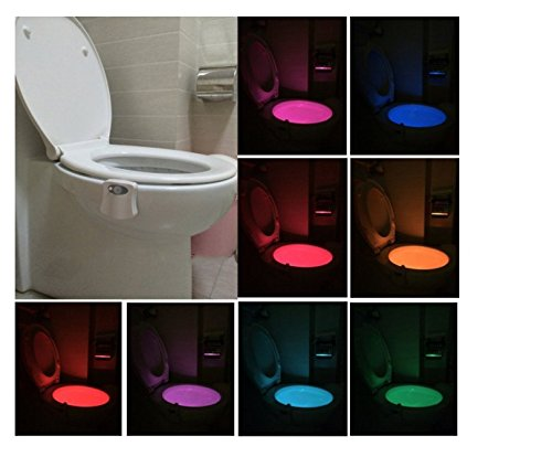 Motion Activated Toilet Night Light, NnxDeal LED Toilet Seat Light, Glow Bowl Auto Motion Sensor Detected Waterproof Colorful for Home Bathroom Washroom WC with 8 Colors Changing
