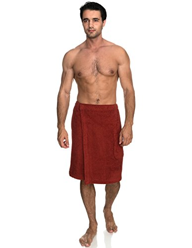 TowelSelections Men's Wrap, Shower & Bath Terry Towel with Snaps Large/XX-Large Cinnabar