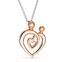 Bling Jewelry Rose Gold Plated Mother Child Heart Necklace 925 Silver 16in