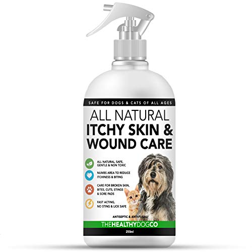 All Natural Itchy Skin & Wound Care Spray For Dogs & Cats | Anti Itch & Skin Care For Pets | Quickly Helps With The…