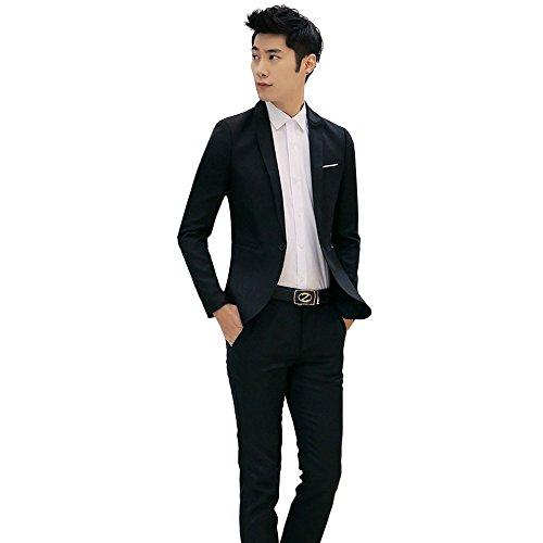 Dressin Men's Suit 2019 Slim Fit One Button 2-Piece Suit Blazer Dress Business Wedding Party Jacket Coat Pants Black