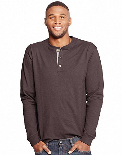 Hanes Men's Long-Sleeve Beefy Henley T-Shirt - Large - Dark Truffle