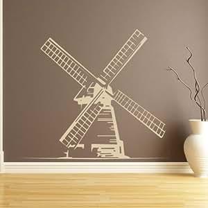 Molinos de viento en todo el mundo adhesivos arte de pared 01 - 50cm Altura - 50cm Ancho - Negro Vinilo