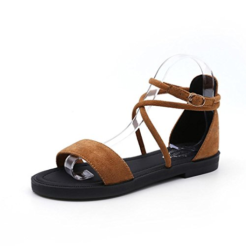 Byste Women Flat Sandals Soft Suede Cross Straps Open Toe Buckle Shoes Ladies Sports Wedge Summer Elastic Thick Rubber Sole Comfortable Yellow CHzJZi