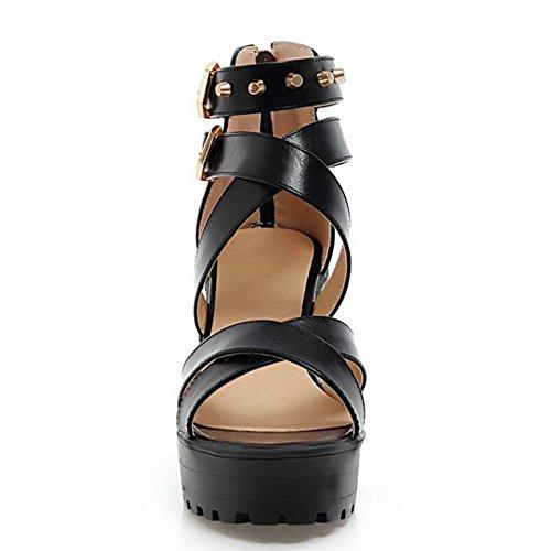 COOLCEPT Mujer Moda Correa al Tobillo Sandalias Punta Abierta Tacon Ancho Zapatos Negro