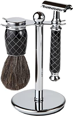 Shaving Gift Set With Safety Razor, 100% Badger Hair Shaving Brush, And All Metal Stand. Great Gift Item For Boyfriend, Husband, Or Father (Criss Cross Black And White) by Boss Razors