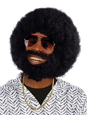 Bristol Novelty BW749 Afro Wig and Facial Hair, One -