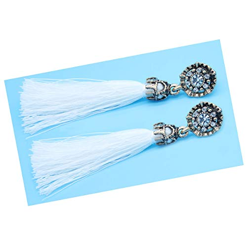 Women Vintage Earring Hollow Crystal Tassel Dangle Stud Earrings (White)