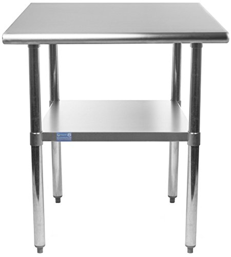 AmGood Stainless Steel Work Table with Undershelf | Food Prep NSF | Utility Work Station | All Sizes (18'' Length X 24'' Width) by AmGood