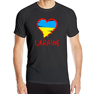 PTR Men's Breathable Love Ukraine National Flag Running Tee Black