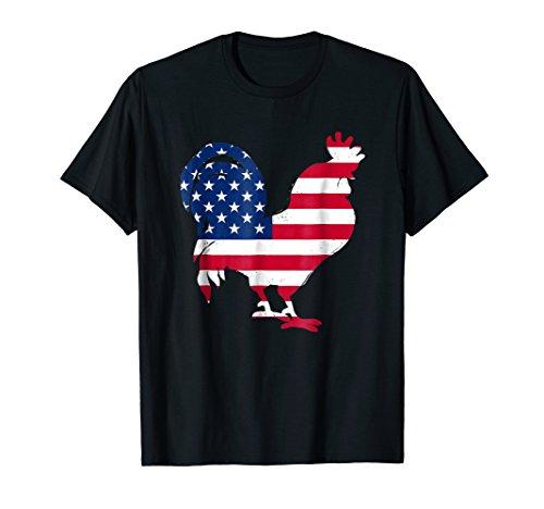 Patriotic Rooster American Flag Tshirt