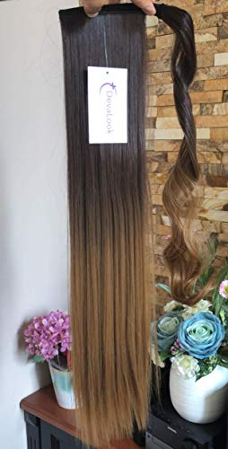 22 Inches Long Straight Ombre Wrap Around Ponytail Synthetic Clip in Hair Extensions Hairpieces(Straight-Dark brown to dark (Long Hair Ponytail)