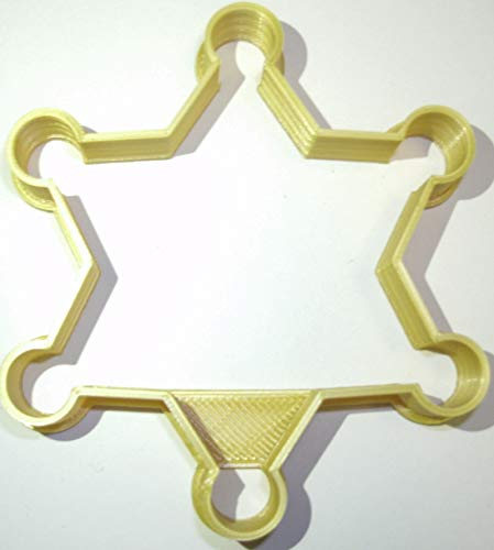 SHERIFF BADGE 6 POINT STAR FIRST RESPONDER COUNTRY WILD WEST THEME SPECIAL OCCASION COOKIE CUTTER BAKING TOOL 3D PRINTED MADE IN USA PR892