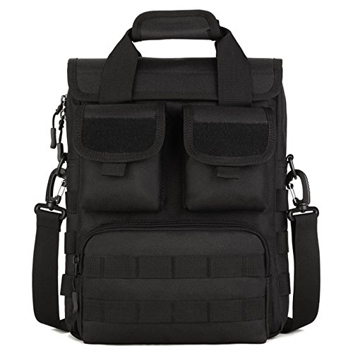 DYJ Military Mole Tactical Field Laptop Briefcase Gear Messenger Shoulder Bag Saddlebag, Multiple Pockets and Compartments (1000D), Black