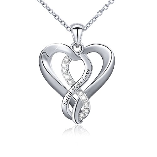 Faith Necklace 925 Sterling Silver Faith Hope Love Infinity Heart Pendant Necklace for Women Girls,18