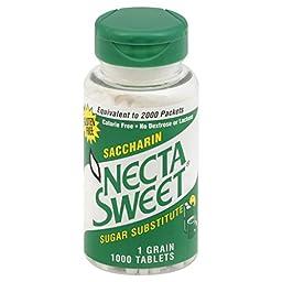 Necta Sweet Saccharin Tablets, 1 Grain, 1000 Tablet Bottle (Pack of 4)