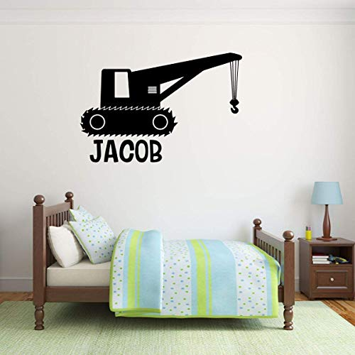 Personalized Boy Name Bedroom Decor | Construction Crane Vinyl Wall Sticker for Playroom or Birthday Party Decoration | Baby Shower Gift Idea for Newborn Child | Blue, Red, Black, White, 25 Colors