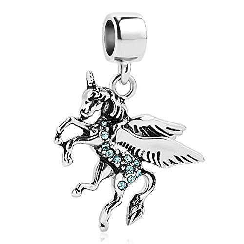 CharmSStory Unicorn Animal Charm Blue Synthetic Crystal Dangle Beads For Charm Bracelets