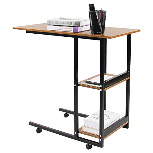 - Jerry & Maggie - Movable Desk Office Home Desk Laptop Desk Lapdesk with 4 Wheels Flexible Wooden Stand Desk Cart Tray Side Table for Bed - Black & Natural Wood Tone