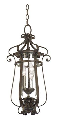 Kalco 9235BB Hartford Outdoor 3-Light Medium Hanging Lantern, Burnished Bronze Finish