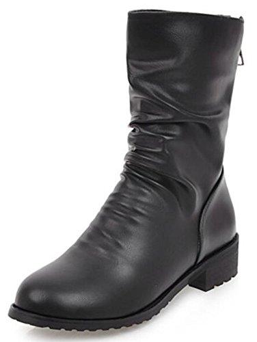 Idifu Womens Casual Slouchy Low Chunky Heels Rijden Halfhoge Kuitlaarzen Met Zwarte Rits Aan De Achterkant