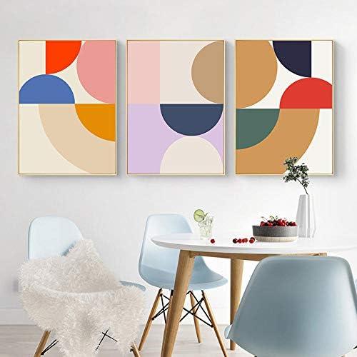 現代の抽象的な幾何学的なポスターとプリントキャンバス印刷壁アート写真リビングルームの装飾-50x70cmx3ピースフレームなし