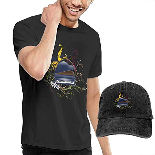 Men's Short Tee Piano Crew Neck T-Shirts and Baseball Cap Cotton Sleeve Shirts with Cowboy Peaked Hat -