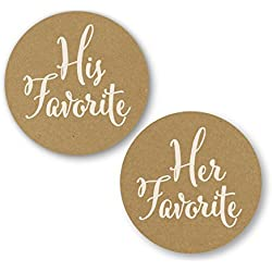 His Favorite & Her Favorite Wedding Stickers, Choose Your Colors, Wedding Favor Stickers (#376-KR-WT)
