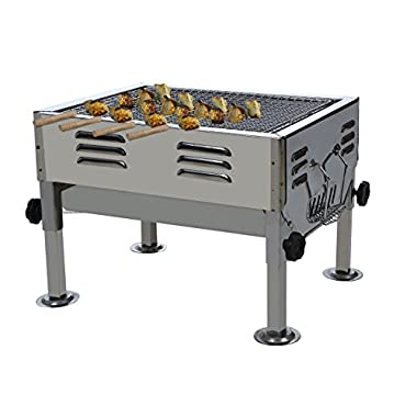 Fabrilla Portable Charcoal Barbeque Grill Set (Silver) 5