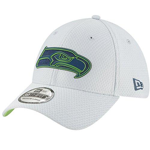 New Era Men's Seattle Seahawks Sideline Training Camp 39Thirty Grey Stretch Fit Hat Cap (Medium/Large) (New Era Stretch)