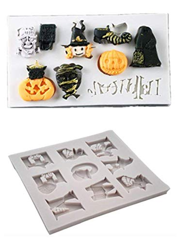 Efivs Arts 2 PCS Halloween Alphabet Spelling Pumpkin Witch Mask Skulls Silicone Molds Cupcake Cake Cookie Decoration ()