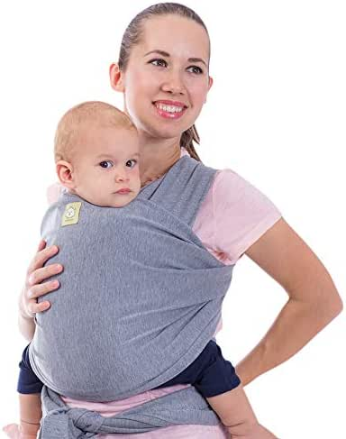 Baby Wrap Carrier All-in-1 Stretchy Baby Wraps - Baby Carrier - Infant Carrier - Baby Wrap - Hands Free Babies Carrier Wraps - Baby Shower Gift - One Size Fits All (Classic Gray)
