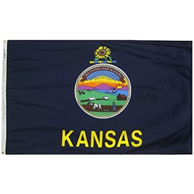 Kansas State Flag 3x5 ft. Nylon SolarGuard Nyl-Glo 100% Made in USA to Official State Design Specifications by Annin Flagmakers.  Model 141860
