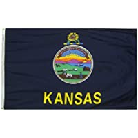 Annin Flagmakers Model 141860 Kansas State Flag 3x5 ft. Nylon SolarGuard Nyl-Glo 100% Made in USA to Official State Design Specifications.