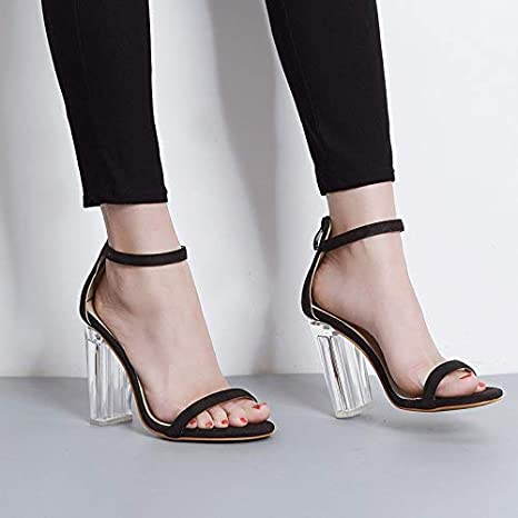 9d091378f3a8 Image Unavailable. Image not available for. Color  DingXiong TIMESIZE Women  Star Sandals Ladies Pumps high Heels Shoes Woman Crystal Clear Transparent  ...